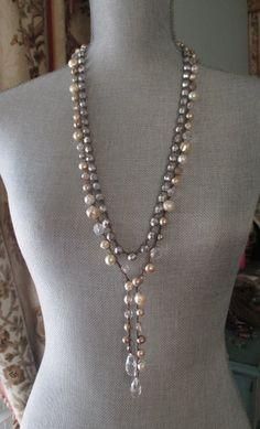 Pearl crochet wrap necklace Pearl Bella neutral by slashKnots