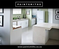 Nothing compares to the luxurious earthy effect that our products create. Here we are appreciating a bleached rope pigmented kitchen floor, Shalestone counter in the colour Bangle Pansy. The back counter is done in Pandomo in the colour Toadstool.  #Paintsmiths #RoomOfTheMonth
