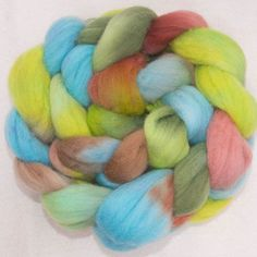 Hand dyed Polwarth, Hand painted roving, Polwarth, Hand Painted top, roving, fiber, felt, Hand dyed spinning wool, colour;South Island by YummyYarnsUK on Etsy