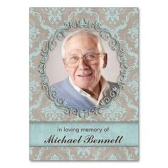 Memorial Photo Card Vintage Damask Blue Brown Large Business Cards (Pack Of All That Matters, Love Is All, Memorial Gifts, In Loving Memory, Green And Brown, Photo Cards, Damask, Business Cards, Personalized Gifts