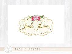 Floral Logo Design Photography Logo Wedding Logo Gold Logo Watercolor Logo Boutique Logo Shabby Chic Logo