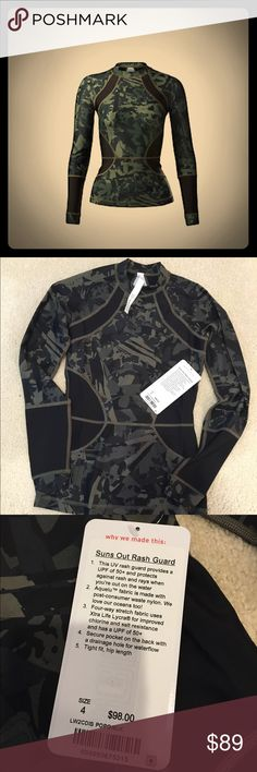 NWT Lululemon Rash Guard, size 4!! Brand new with tags, Lululemon rash guard size 4 in fatigue green/black print.  UPF of 50+ with a pocket on the back to keep things secure lululemon athletica Swim