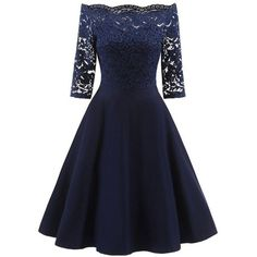 Lace Panel Off The Shoulder Vintage Flare Dress (243.540 IDR) ❤ liked on Polyvore featuring dresses, blue fit-and-flare dresses, blue dress, lace panel dress, vintage day dress and blue vintage dress