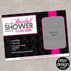 Black Pink Damask Bridal Shower Invitation With Engagment Picture - Printable Digital File by RitterDesignStudio on Etsy (null)