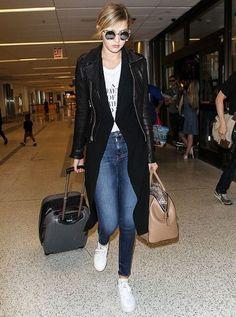 gigi hadid maxi cardigan leather jacket airport outfit