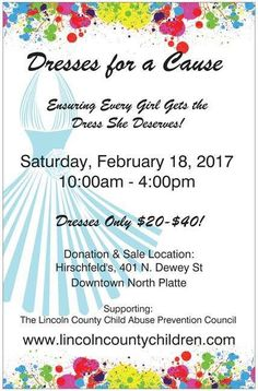 Dresses for a Cause February 18 in downtown North Platte at Hirschfeld's Prom Shop!