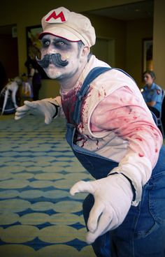 Zombie Mario - great idea for an inexpensive costume..... HalloweenMarketPlace.com