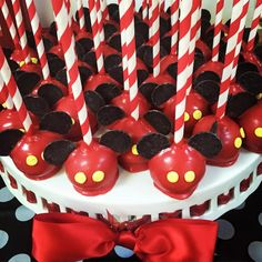 Mickey Mouse Birthday Candy Dessert Table Buffet Bar Classic colors Red Yellow Black White 1st birthday baby boy Cake Pops Bouboulina Events