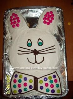 Homemade Easter Bunny Cake: I got the idea for this Easter bunny cake off of this site! It was very simple to make. I just mixed up a box of marble cake mix and baked it in two 9