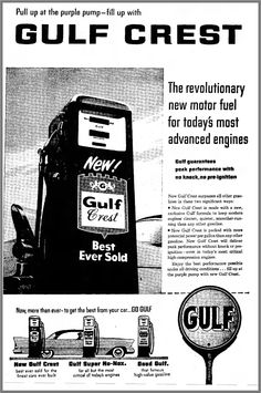 1957 Gulf Crest Purple Pump - The Kokomo Tribune Vintage Auto, Vintage Travel, Vintage Cars, Old Advertisements, Advertising, Purple Pumps, Old Gas Stations, Doodle, Oil