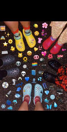 Me and friends on the reg! Yellow Crocs, Pink Crocs, Cool Crocs, Nike Zoom, Cute Shoes, Me Too Shoes, Sneakers Fila, Croc Charms, Logo Nike
