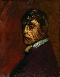 Walter Sickert  Self Portrait 1896  (oil on canvas) believed by some to have been Jack the Ripper. Murder, Women and the color red DID  feature a lot in his paintings.