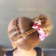 Diagonal elastics and braid connected to a high side messy bun! #toddlerhair #toddlerhairideas #toddlerhairstyles #hairideas #toddlerstyle #easyhairstyle #littlegirlhair #toddler #hairstylesforgirls #kidhairstyles #toddlersofIG #toddlersofinstagram #braidsforlittlegirls #instabraid #childrenofinstagram #toddlerlife #ontheblog #hairofinstagram #braid #blogger #instahair #sweetheartshairdesign