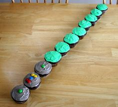Star Wars Light Saber cupcakes. Could make one blue or green, and one red- position so they are crossed as if in a saber duel between Jedi and Sith!