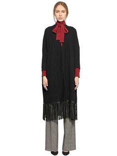 LARUSMIANI NAPPA FRINGE WOOL & CASHMERE CARDIGAN, BLACK. #larusmiani #cloth #knitwear