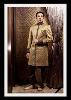 Keeping it classy in a simple Brown & gold sherwani. Try it ♡ Book it ♡ Flaunt it