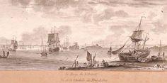 """""""La rade de Lorient, Port-Louis"""", Ozanne (1728-1811) figure parmi les principaux dessinateurs de la marine au XVIIIe siècle. Natif de Brest, il travaille à Toulon puis à Versailles, et réalise une série de dessins sur les ports de France et des colonies, qui seront le plus souvent reproduits en gravure par ses sœurs, Françoise et Jeanne Ozanne. À la fin du siècle, il se rend à Lorient où il dessine cette vue de la rade, prise depuis la citadelle de Port-Louis."""