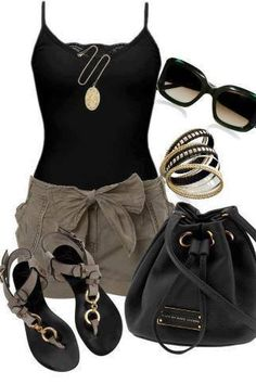 Cute summer outfit. Love the black and grey. The sandals are super cute...wonder if they comfortable to wear? Love the bangles