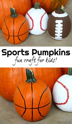 Sports Pumpkins - A Fun Craft For Kids To Decorate For Halloween Help the kids make these fun sports pumpkins - a fun way to decorate for Halloween! All you need is a few pumpkins and a little paint to make them! Easy Halloween, Halloween Pumpkins, Halloween Crafts, Halloween Decorations, Halloween Party, Fall Crafts, Pumpkin Decorations, Halloween Costumes, Funny Pumpkins