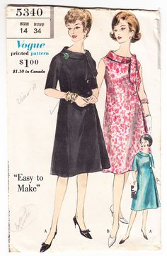 Vintage 1962 Vogue 5340 Sewing Pattern by SewUniqueClassique, $12.00