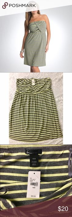 NEW Lane Bryant Striped Strapless Dress 18/20 This adorable light yellow and gray dress is completely new, never been worn, and still has its tag! Size 18/20. Bought for $59.95. Would be a perfect spring or summer dress or cute paired with a denim jacket during cooler weather. Enjoy! Lane Bryant Dresses Strapless