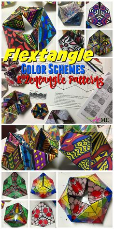 Flextangle STEAM Art Project: Fusing Math and Art, Hexaflexagon , Color Schemes & Pattern, Middle School & High School Art STEAM Lesson