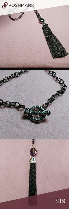 Tassell Necklace Handmade black chain tassell with silver closure and accents.  Swarovski stone picks up whatever color is around it and sparkles. Uniquely Beth Jewelry Necklaces
