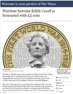 Confirmed for 2015: A new Edith Cavell £5 Coin... The face of a wartime heroine #ChangeChecker #£5