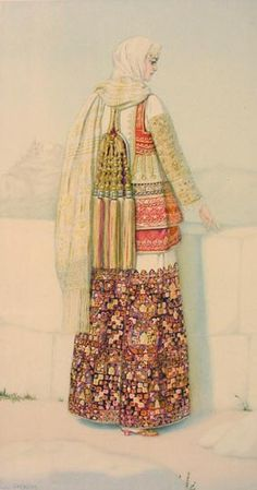 NICOLAS SPERLING Peasant Woman's Holiday Costume (Attica) lithograph on paper after original watercolour Greek Traditional Dress, Traditional Fashion, Traditional Outfits, Ancient Greek Costumes, Vintage Costumes, Vintage Outfits, Greek Dress, Costumes Around The World, Holiday Costumes