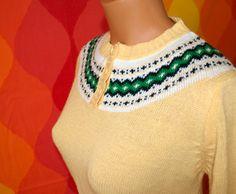 vintage 80's sweater nordic yoke button preppy by skippyhaha