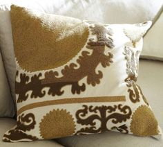 TV Room pillow option  Suzani Embroidered Pillow Cover - Neutral | Pottery Barn