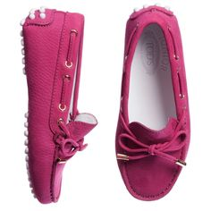 Tod's - Girls Pink Suede Moccasins | Childrensalon