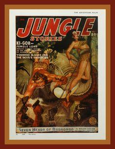 Man Cave Art  Jungle Stories  Pulp Magazine by DustyDiggerLise