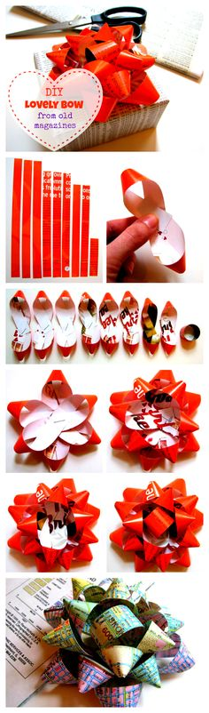 DIY Lovely Gift Bow from Old Magazines