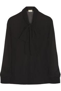 Saint Laurent|Pussy-bow silk-georgette blouse|NET-A-PORTER.COM