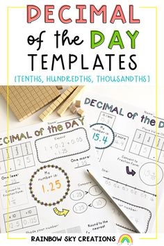 These Decimal of the Day templates have been designed for you to use with your students to engage them in learning all about how the number system works when working with numbers that include decimals. They can be used with any number with a decimal containing tenths, hundredths and thousandths. Great for distance learning. Kindergarten Math Activities, Teaching Math, Teaching Resources, Primary Maths, Primary Classroom, Elementary Math, Upper Elementary, Professional Development For Teachers, Rainbow Sky