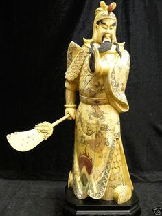 "Bone Warrior-the General Kwan - Long: 8"", Wide: 8"", High: 22"" Sold Out - This Beautiful Artwork Is Made Of Solid Bones. All Natural And All Hand Carved. It Is Not Bone Powder, Resin Or Mouded. Very Detailed Carving. General Kwan Is One Of The Famous Ancient Warrior"