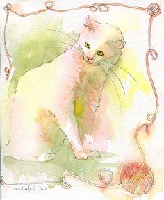 Watercolour cats by Ewa Ludwiczak