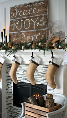Christmas Mantel - The Lilypad Cottage love the pallet sign. Christmas stocking idea