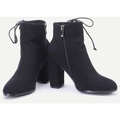 SheIn(sheinside) Black Faux Suede Lace Up Side Short Boots (90 BAM) via Polyvore featuring shoes, boots, ankle booties, black boots, short black boots, black bootie boots, black high heel booties and black high heel boots