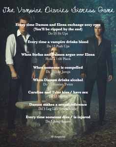 For all the Vampire Diaries Fans! The Vampire Diaries Workout Game Vampire Diaries Memes, Vampire Diaries Workout, Vampire Diaries Stefan, Vampire Diaries Season 2, Tv Show Workouts, Fun Workouts, At Home Workouts, Disney Movie Workouts, Disney Workout