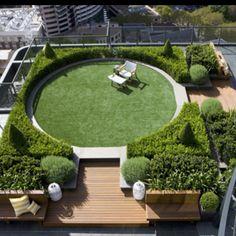 Roof garden with round lawn // Secret Gardens
