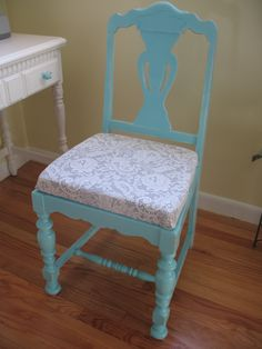 AFTER ...Painted Robin's egg blue, used old gray shirt, and lace curtain to recover seat