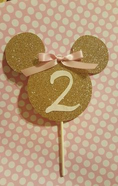 Pink and gold Minnie Mouse cake topper! https://www.etsy.com/listing/259199797/pink-and-gold-minnie-mouse-cake-topper