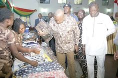 """• President John Mahama admiring some of the artifacts produced by the inmates at the launch of the project """"Efiase"""" in Accra. Picture: EMMANUEL ASAMOAH ADDAI"""