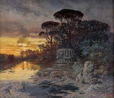 Ferdinand Knab (1834-1902), Flußlandschaft mit Tempelruine.