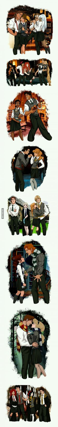 Disney characters reimagined as Hogwarts students.