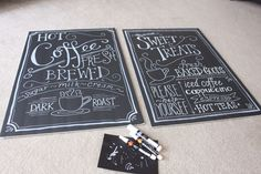 """Make your own """"chalkboard"""" style signs with large black foam core boards and white paint pens. Chalkboard Lettering, Chalkboard Signs, Chalkboards, Foam Board Crafts, White Paint Pen, Living At Home, Paint Pens, Shop Signs, Dollar Stores"""