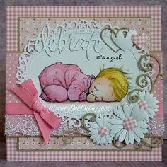 """adorable new baby card form A Scrapjourney .. sweet image of sleeping baby ... collage styling with lace and grosgrain ribbons ... layers of patterned papers ... die cut hearrts, flowers and """"celebrate"""" ... luv the pink gingham centers on the daisies ..."""