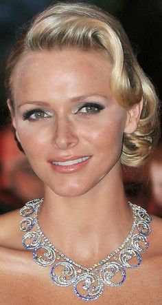 Tiara Mania: Ocean Tiara worn as a necklace by Princess Charlene of Monaco